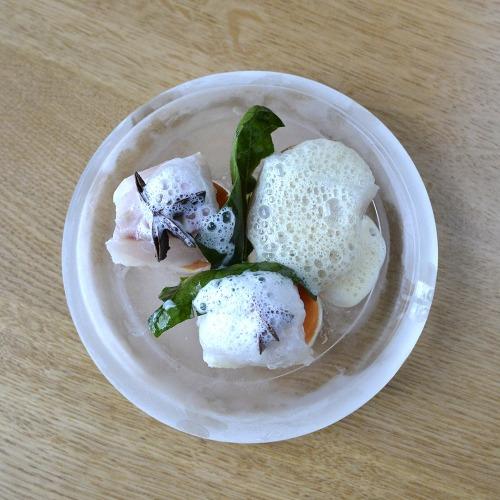 Blanquette de cabillaud mariné au lait de coco, patates douces à la vapeur